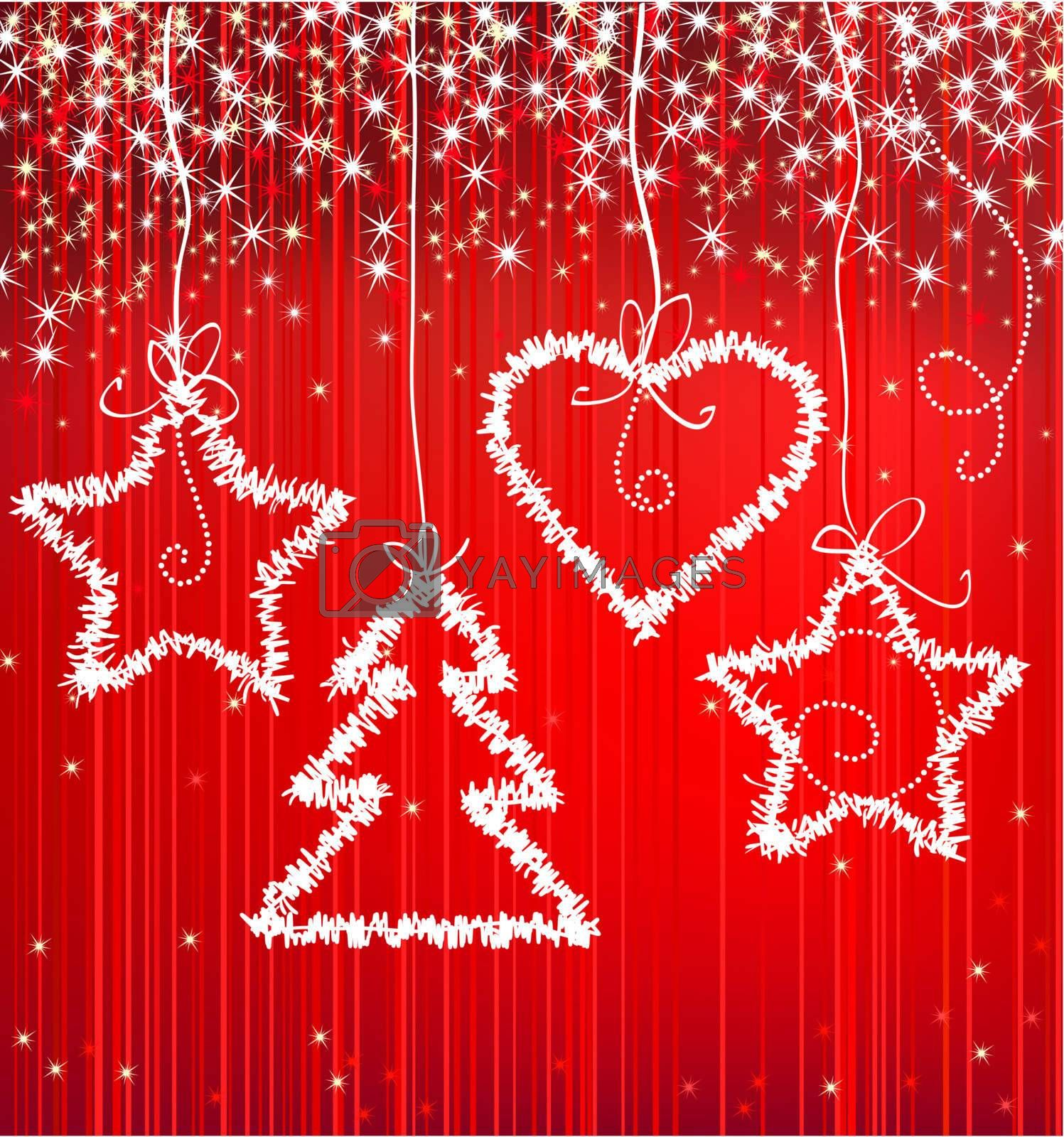 Christmas red vector sparkle background with tree, star, heart