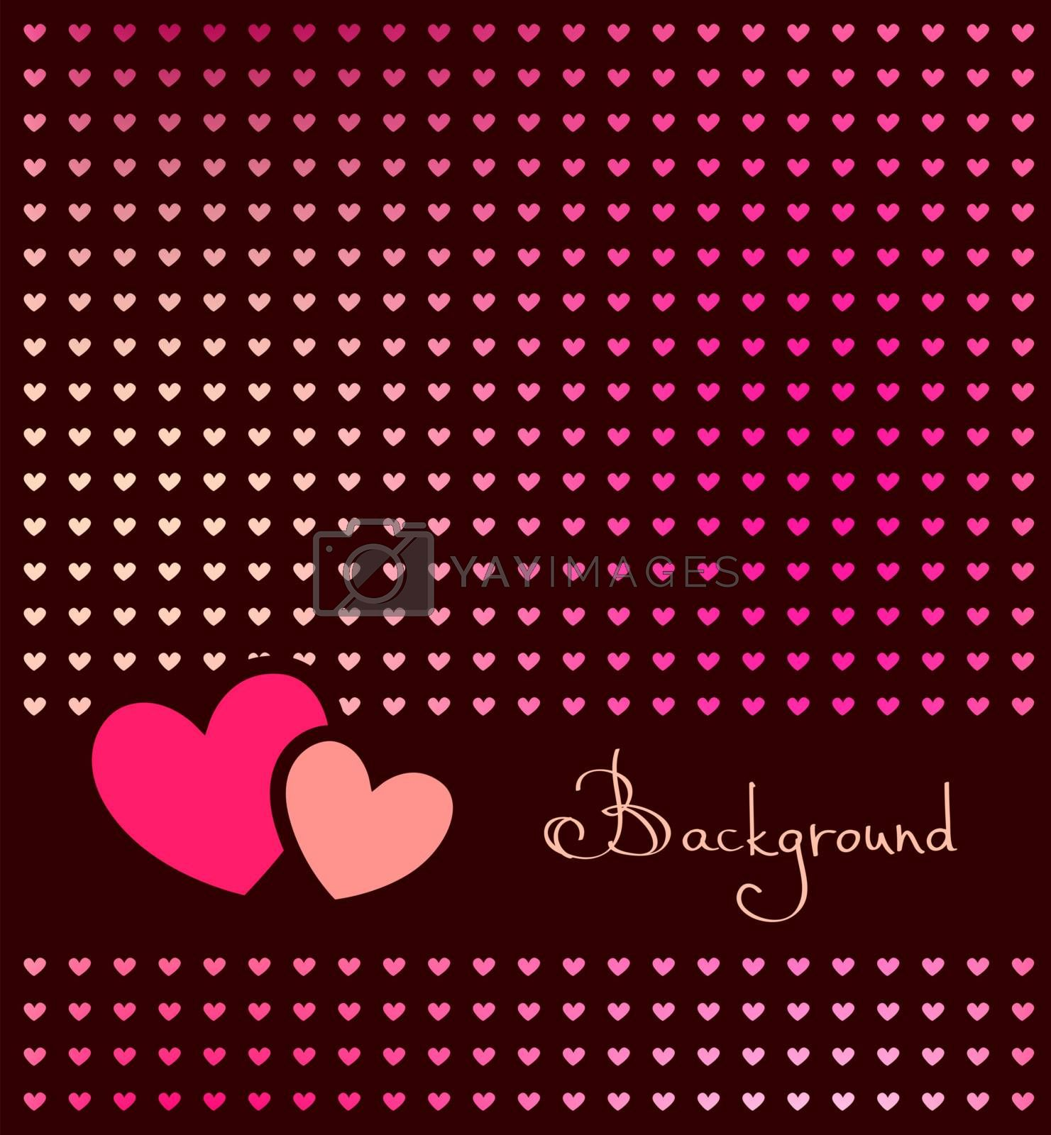 dark background with frame and hearts, vector illustration