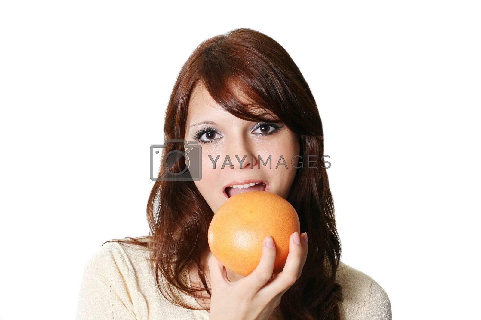 females food eating beauty girls fruit cheerful