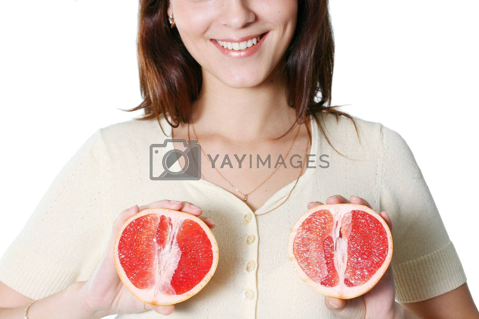 isolated white happiness dieting caucasian teeth fruit