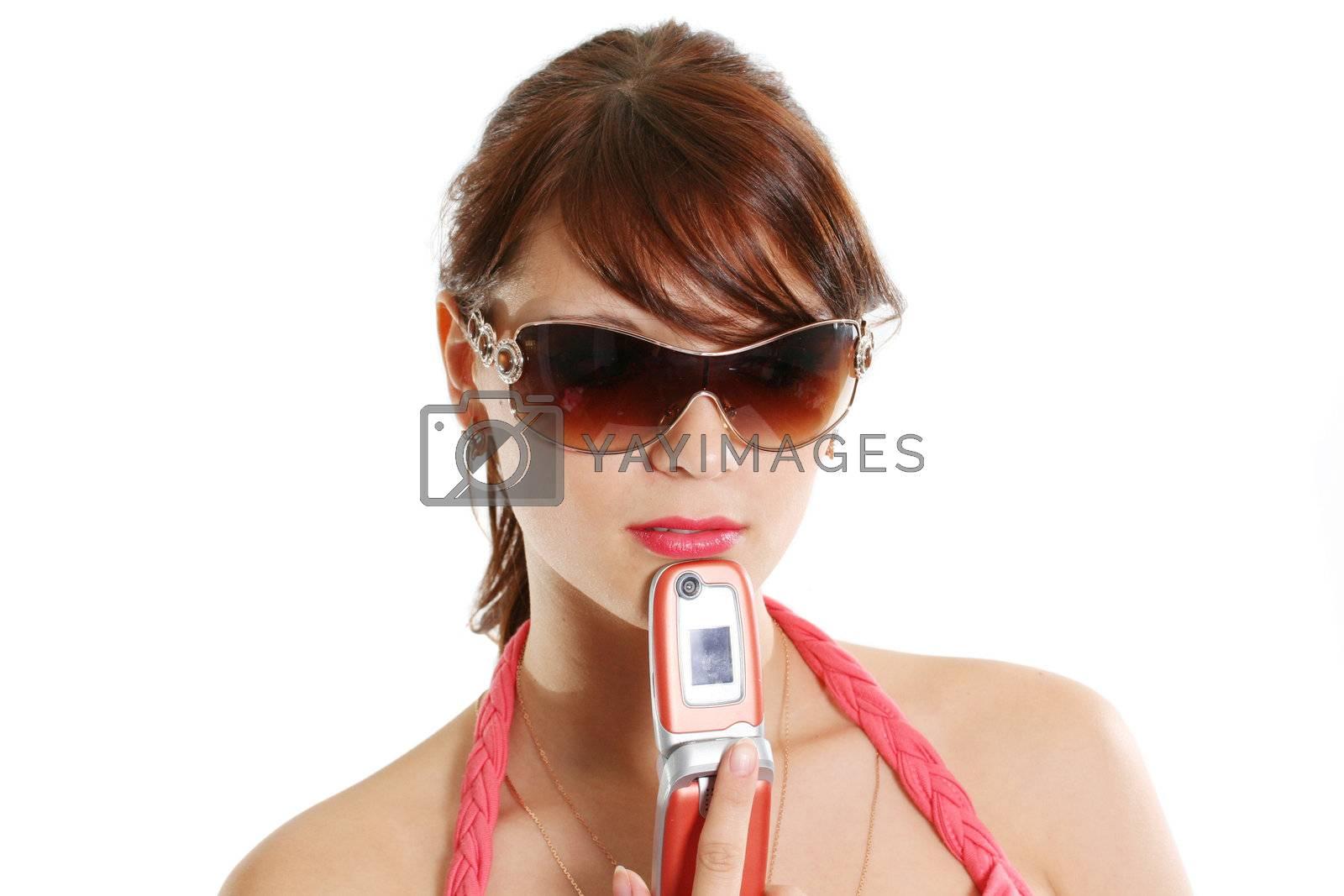 sunglasses adult telephone mobile hair females fashion