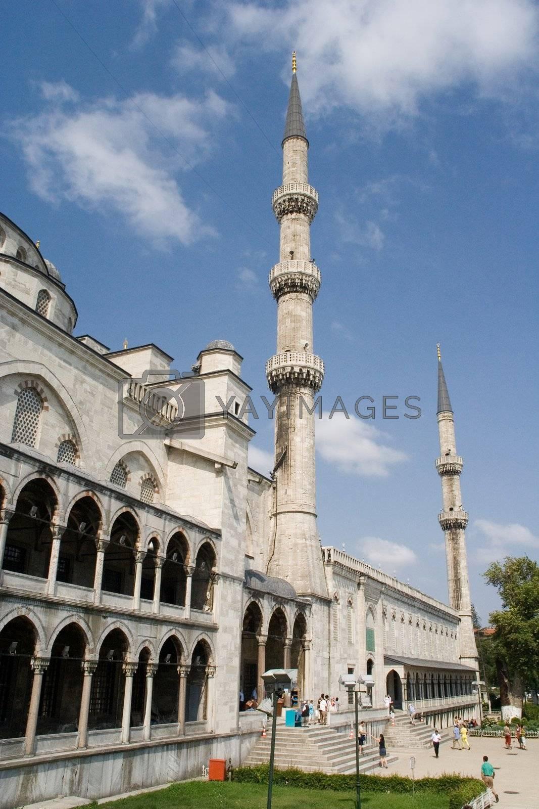 architecture mosque istanbul turkey minaret  blue sky