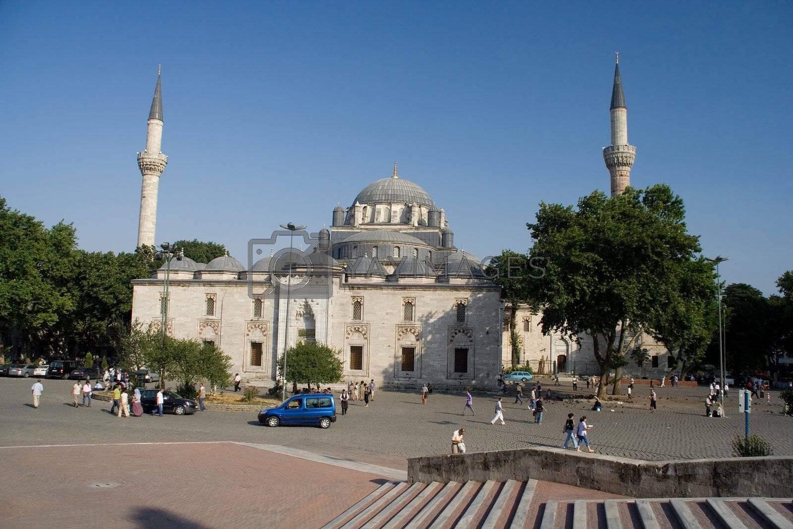 turkey mosque summer minaret istanbul sky people