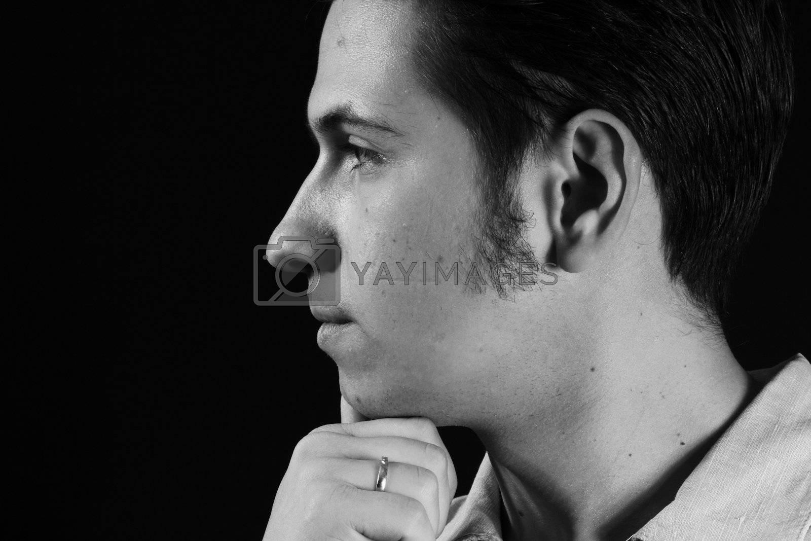 black portrait face nose profile human man