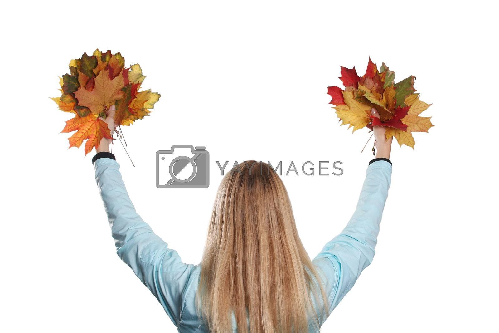 autumn girl maple blonde hair season fun