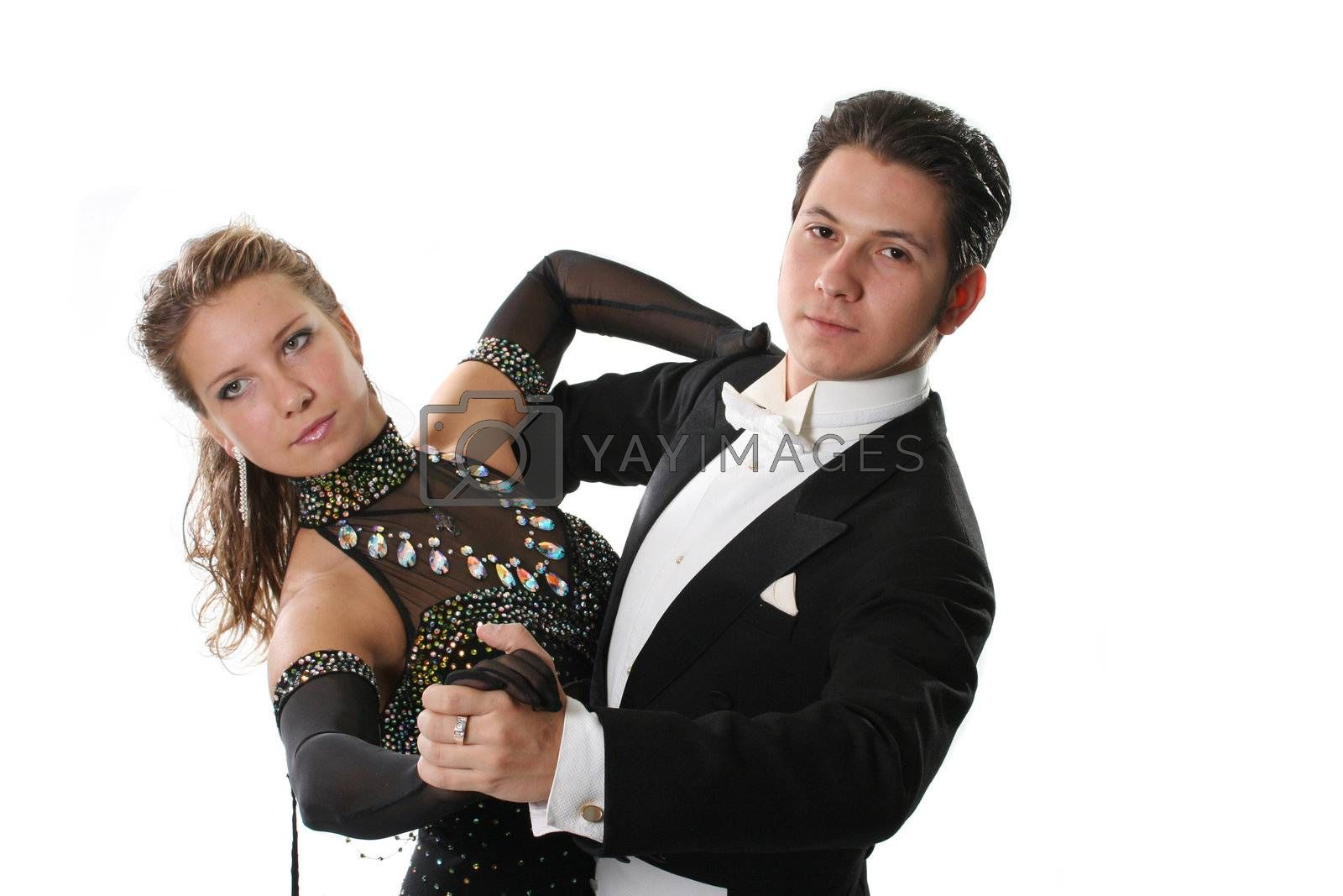 isolated  love young dancing couple ballroom glamour
