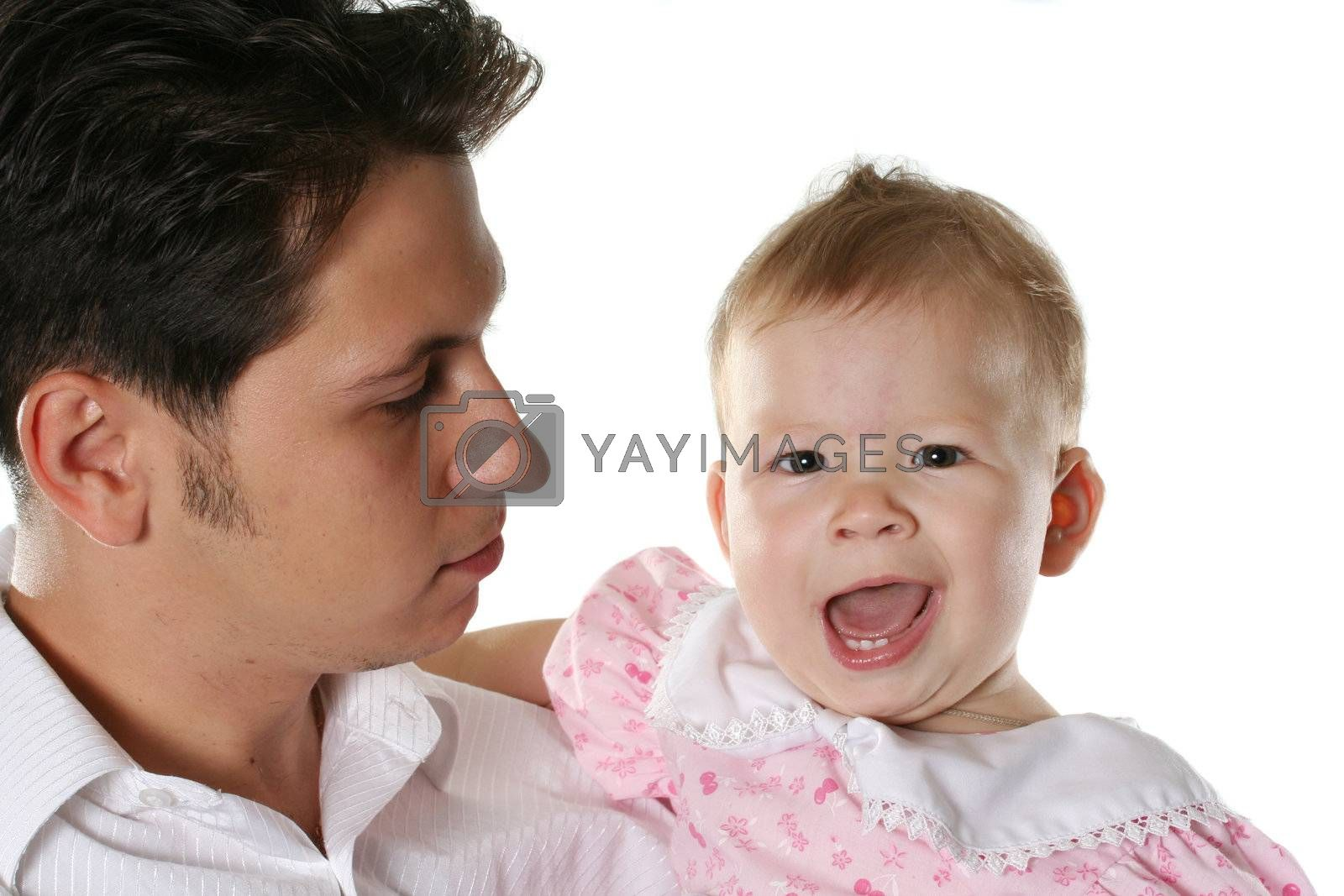 child isolated happiness father cheerful parent baby
