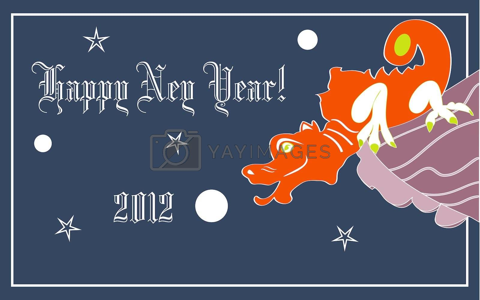 Red dragon, symbol of New Year 2012, sitting on the brown roof, on dark blue background with white balls and stars
