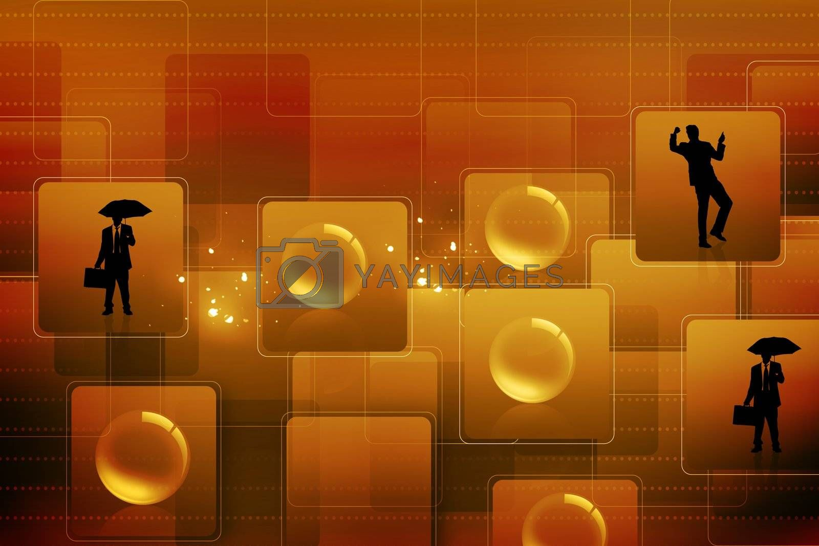 Business people in abstract background