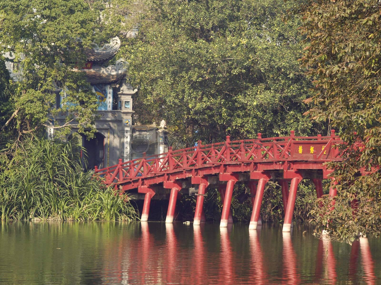 Red bridge in Hanoi by epixx