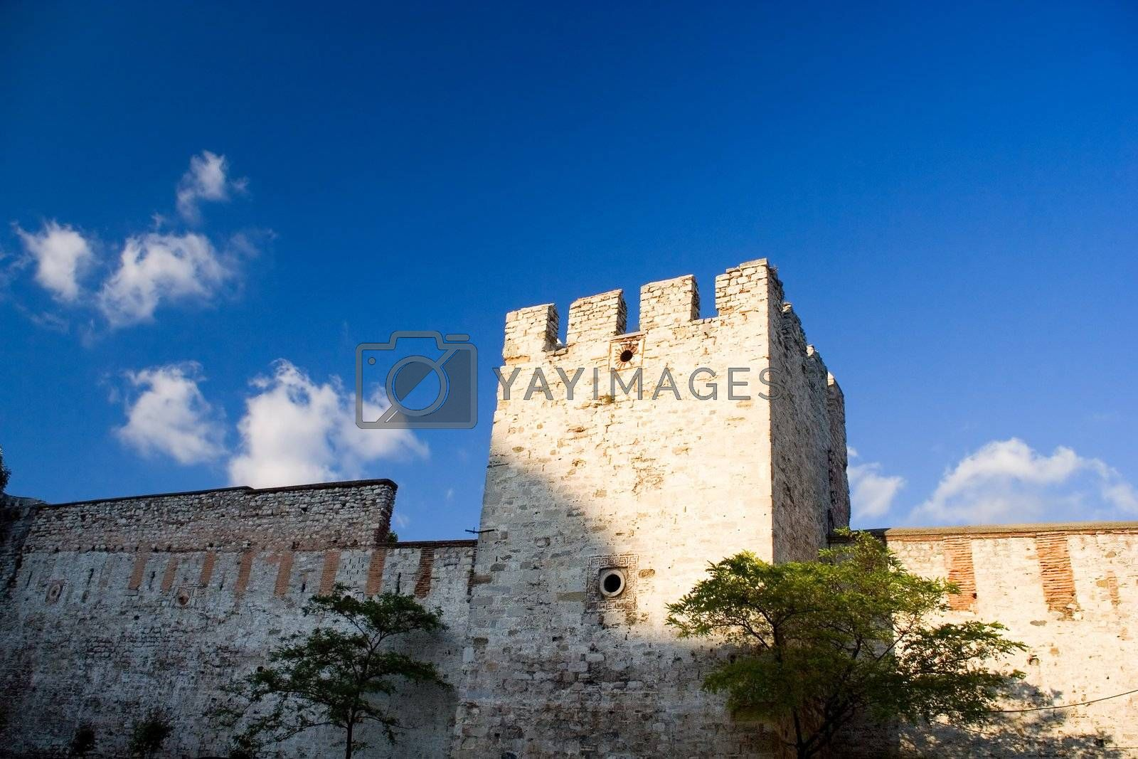 stone old wall ancient architecture sky blue