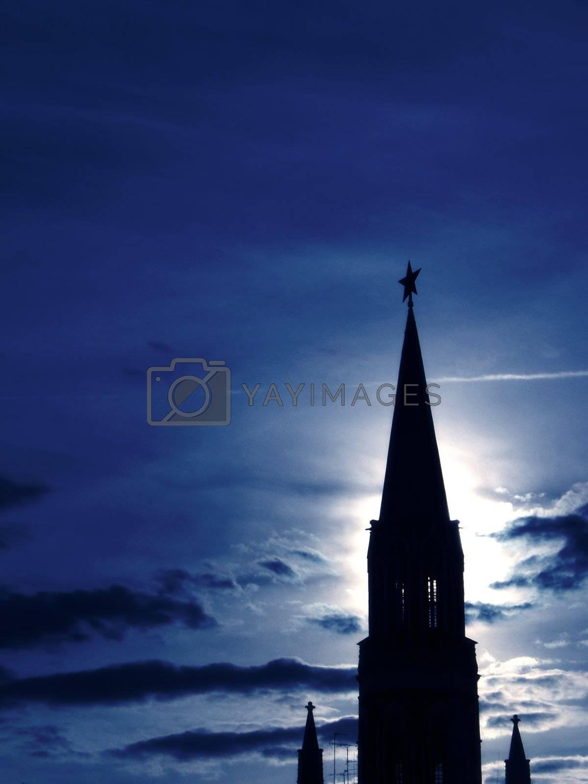 tower night silhouette urban architecture cityscape dark