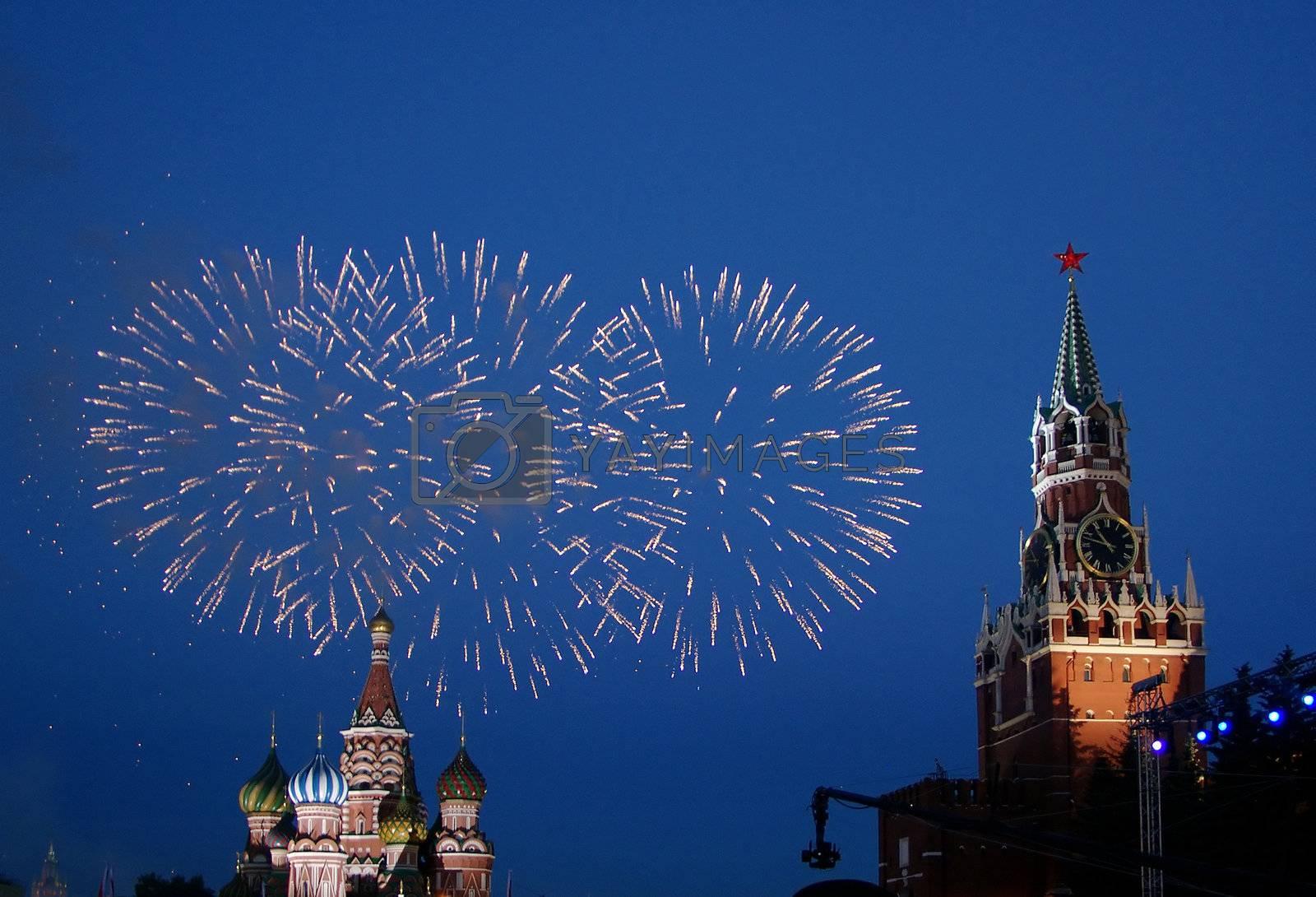 fireworks night celebration traditional moscow kremlin sky