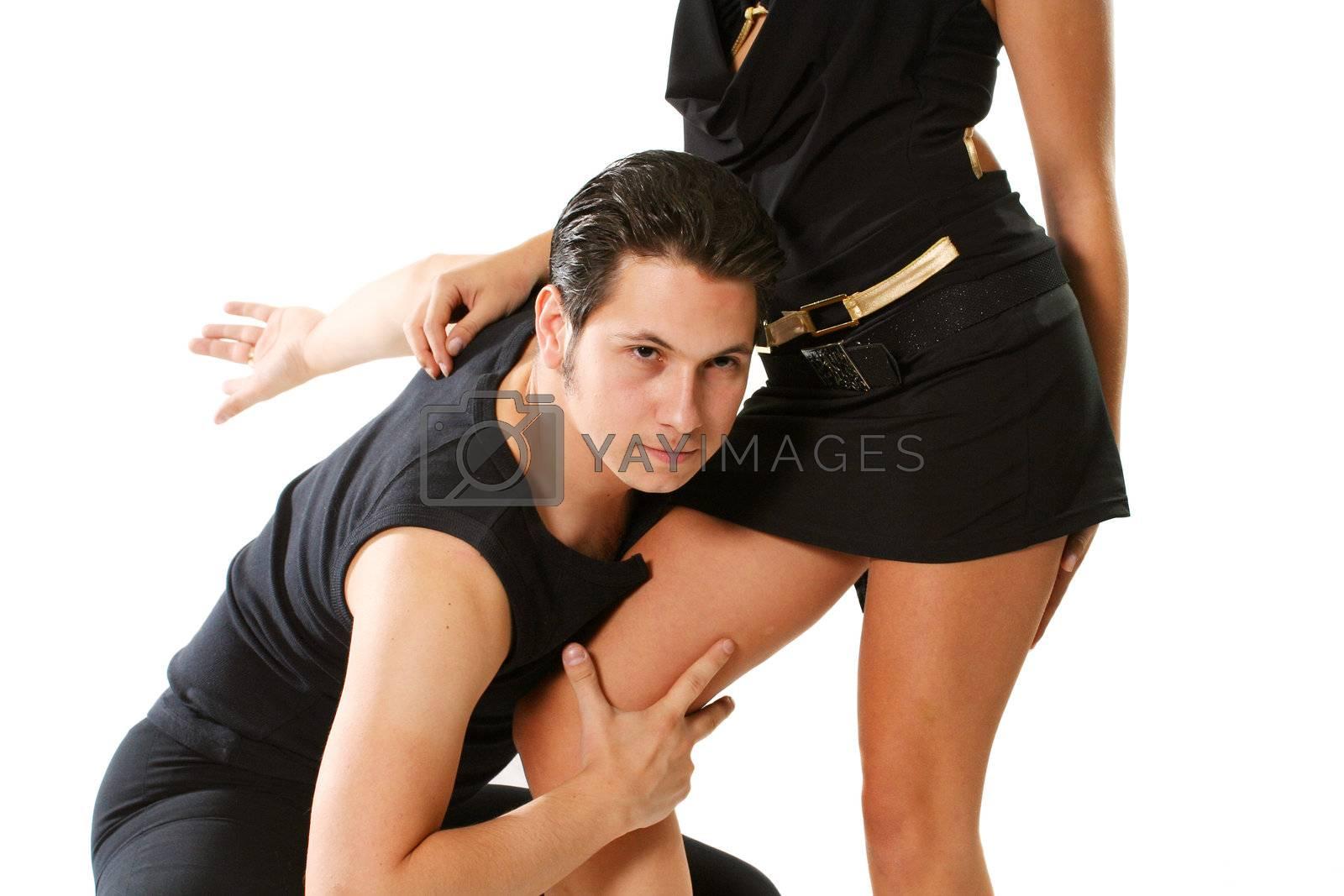 clothing latin blond flirting rumba mambo isolated