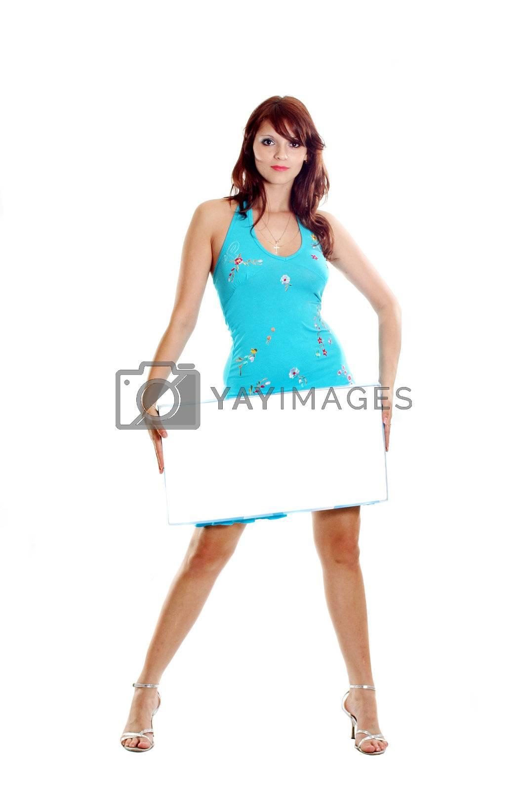 sale blue hand woman fashion business card
