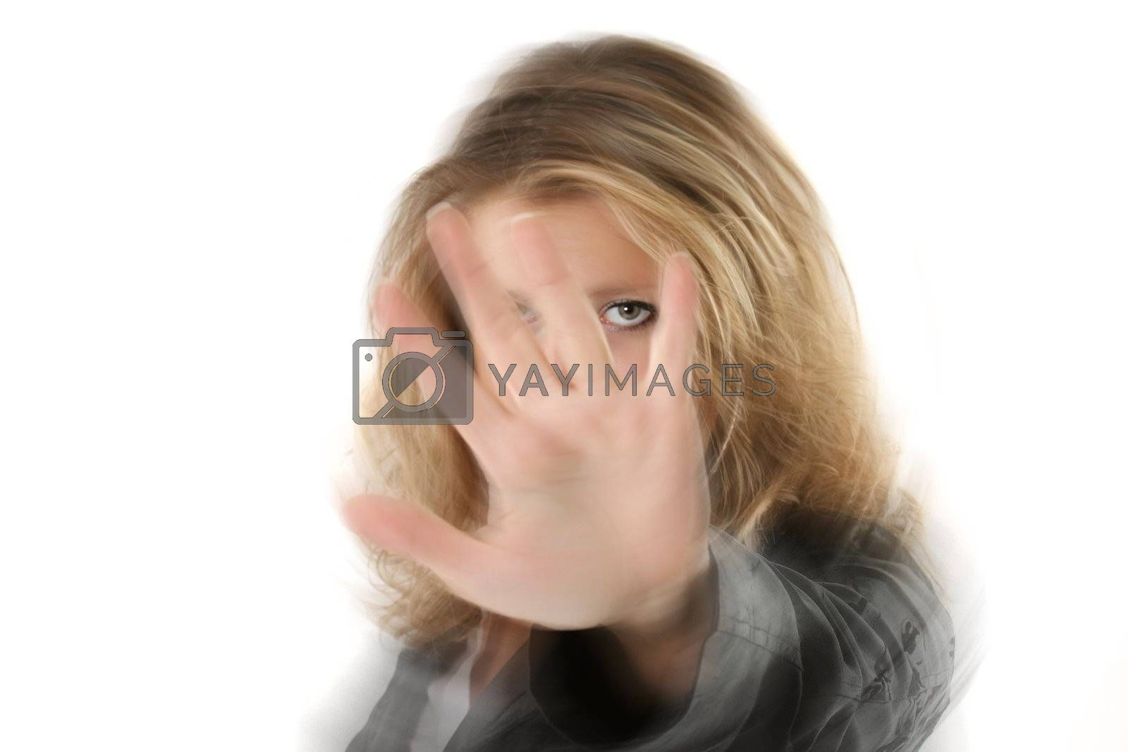 gesture girls stop eye bluring hand white