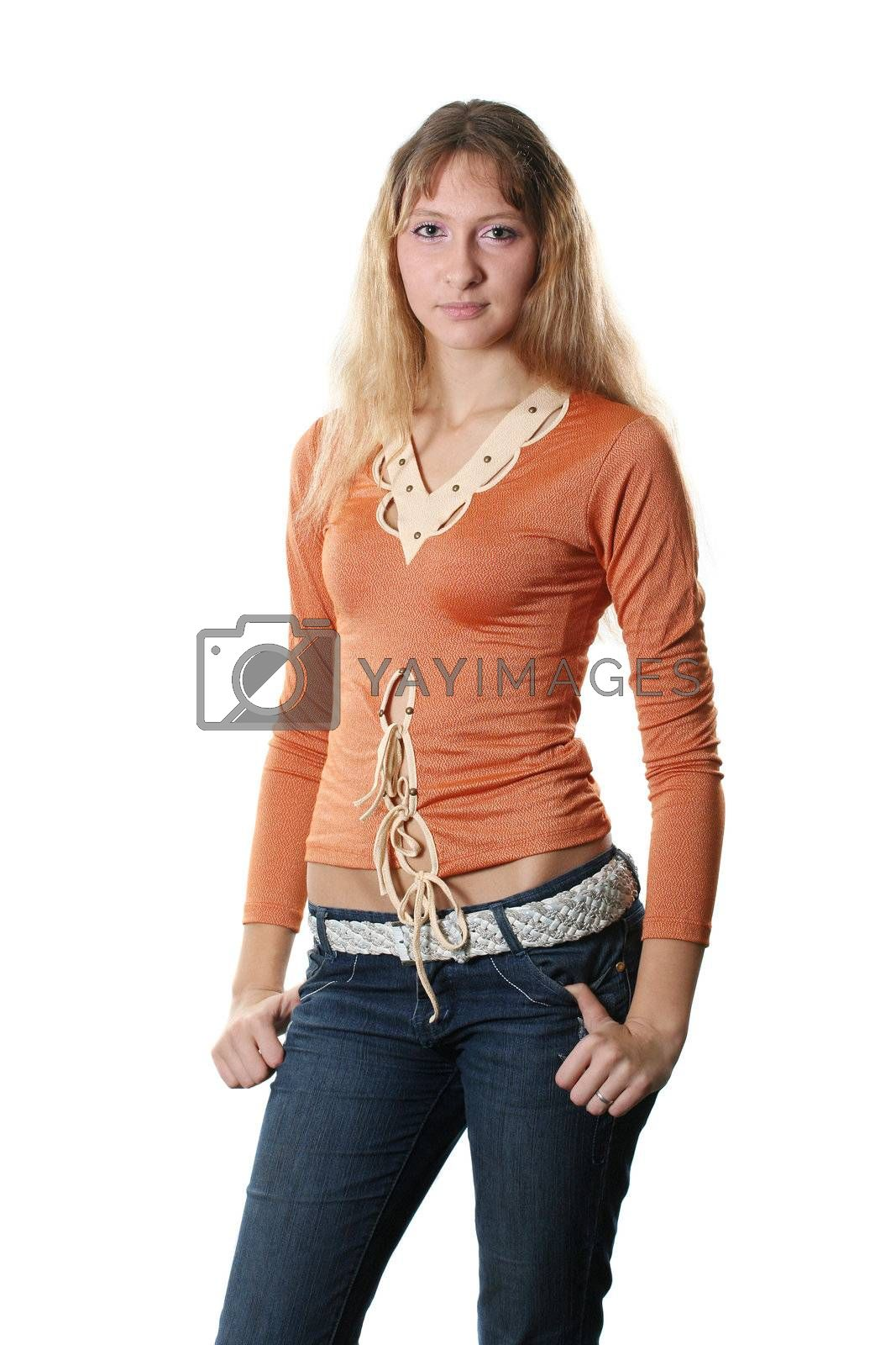 isolated posing model fashion beautiful clothing jeans