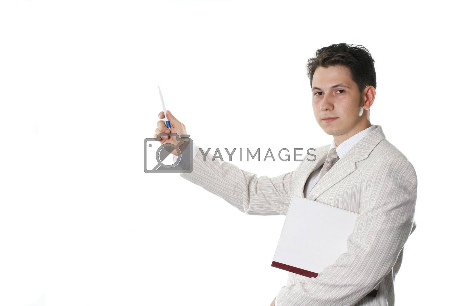 isolated office businessman documents clothing manage paper