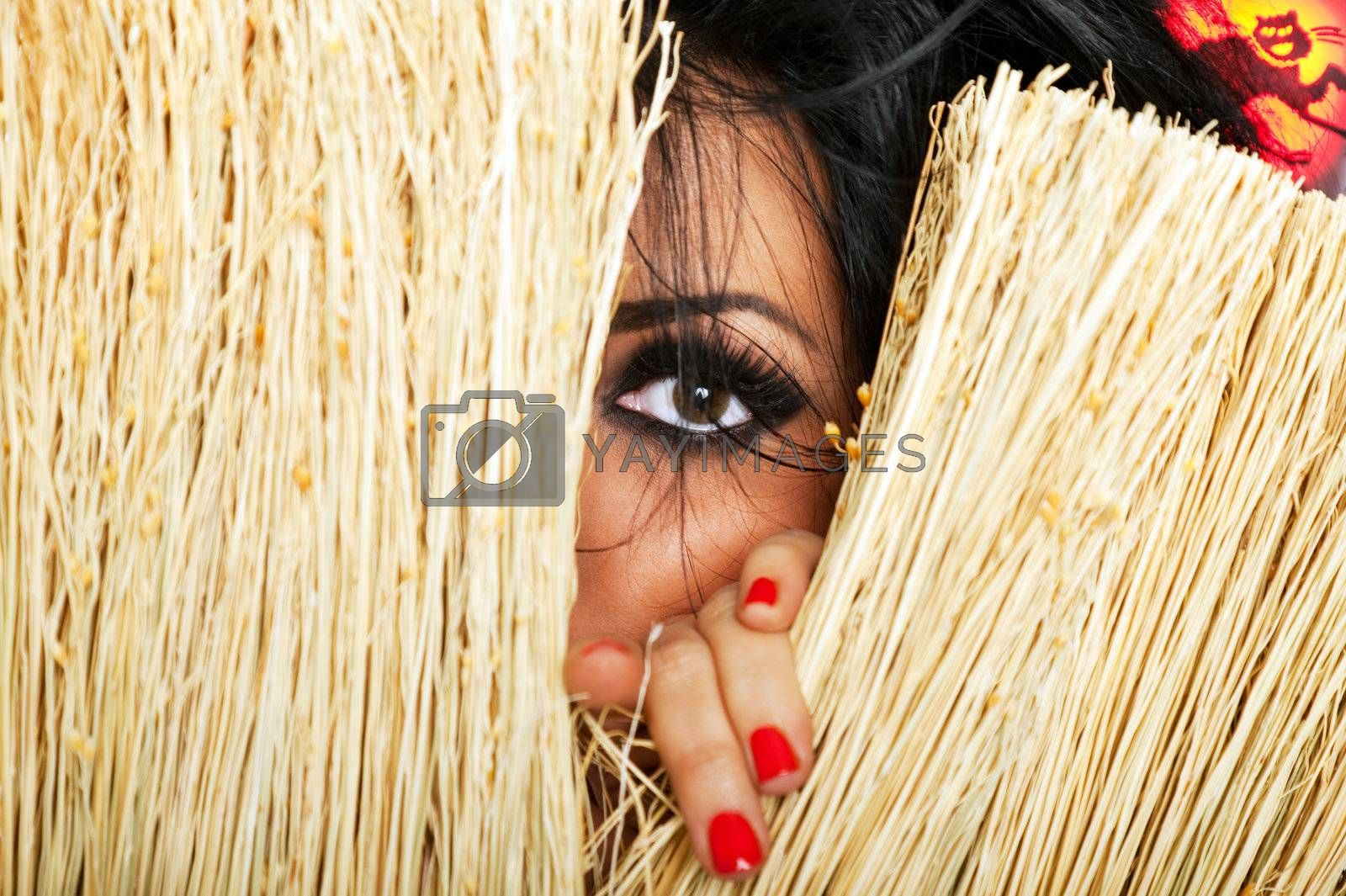 an eye of a witch hiding behind broom