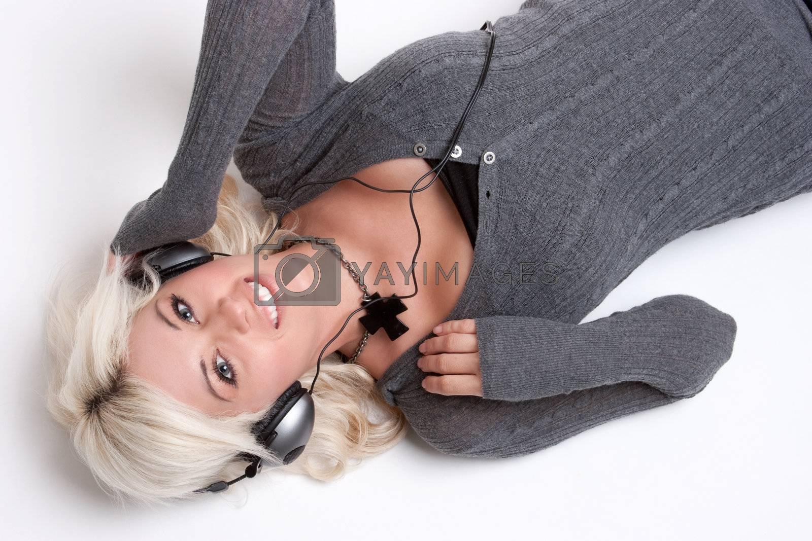 Headphones music listening smiling girl