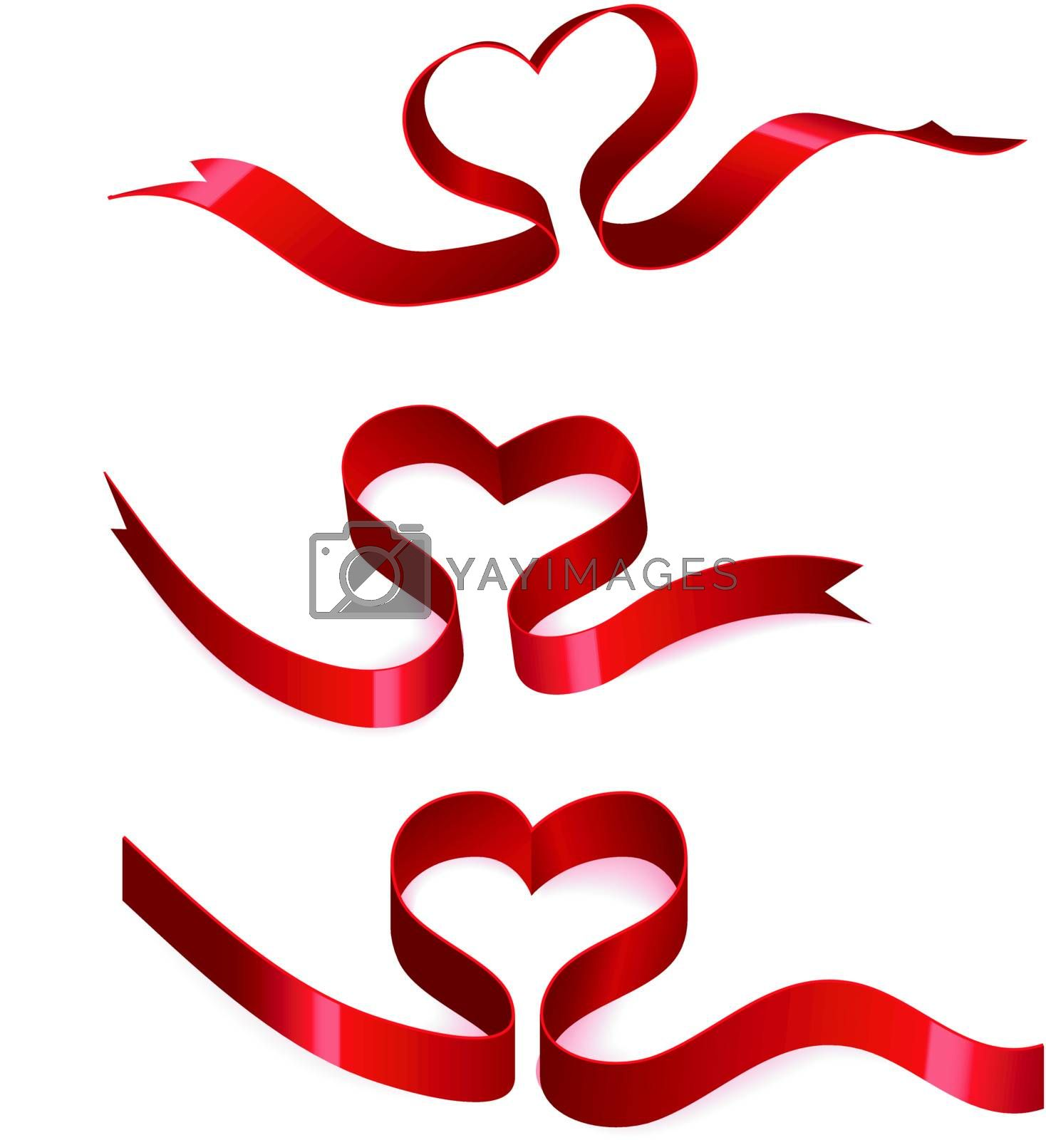 Heart from ribbon with shadow and reflection. Valentine's day vector background