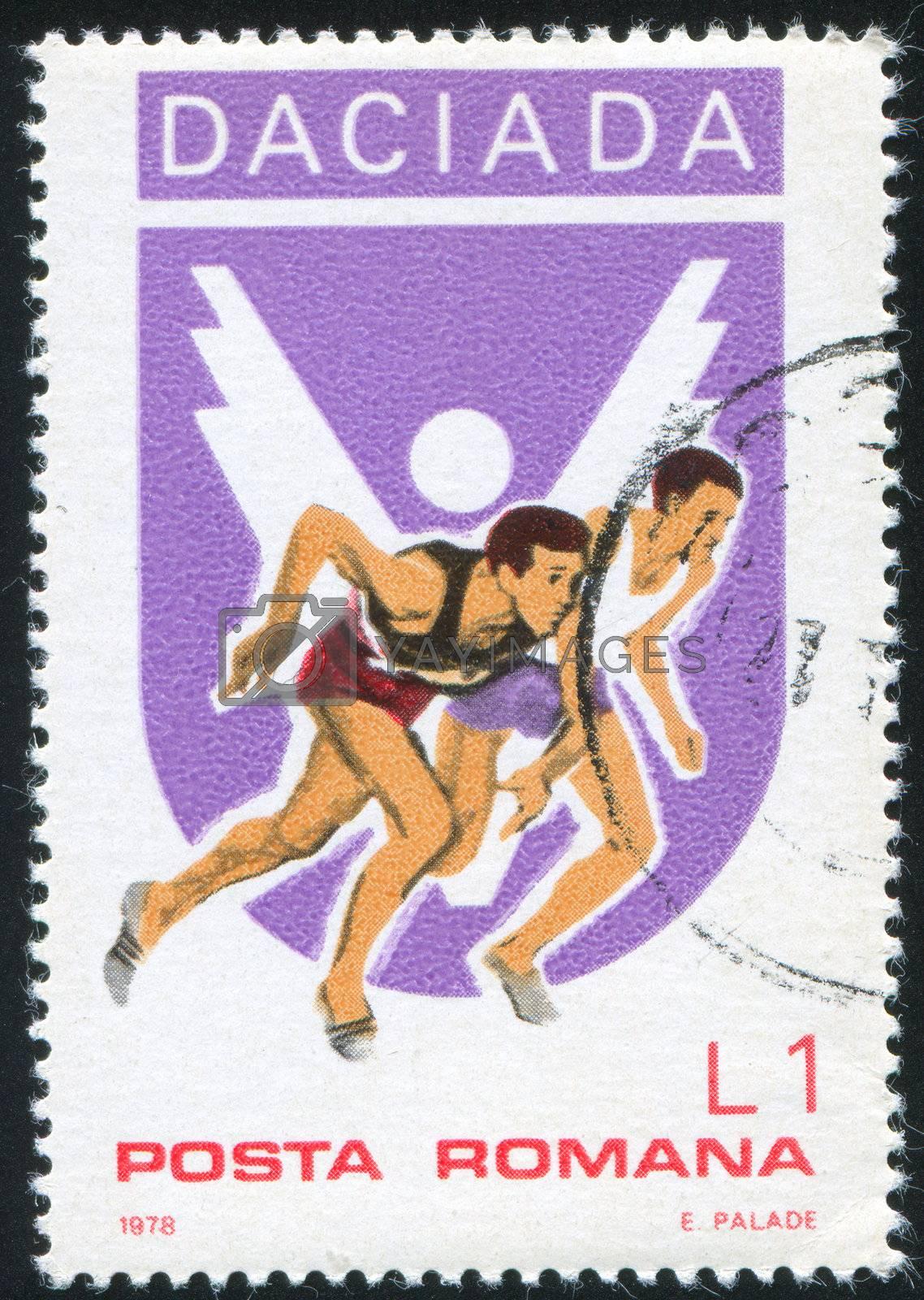 ROMANIA - CIRCA 1978: stamp printed by Romania, show Running, circa 1978.