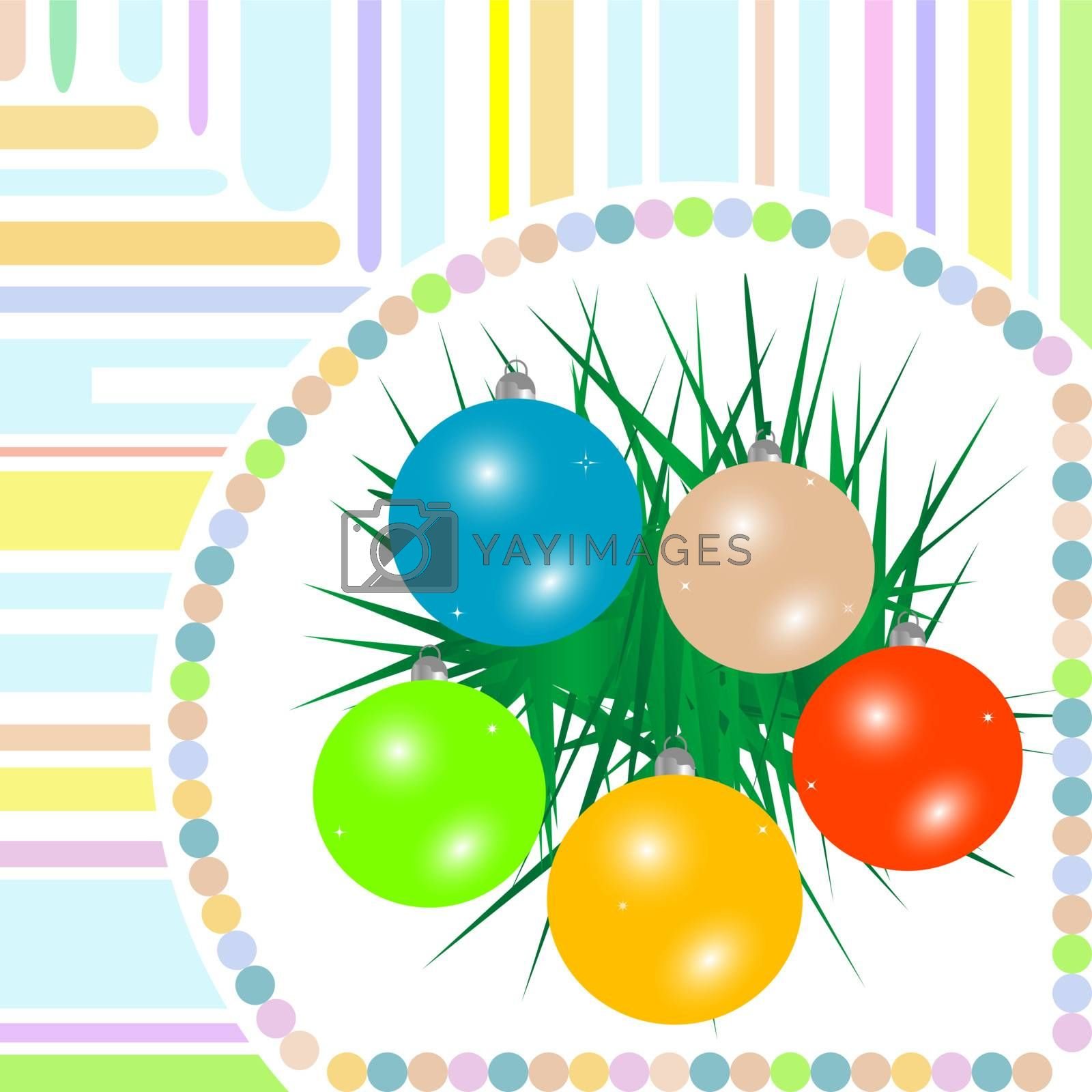 Christmas ball on green spruce branch. new year vector card