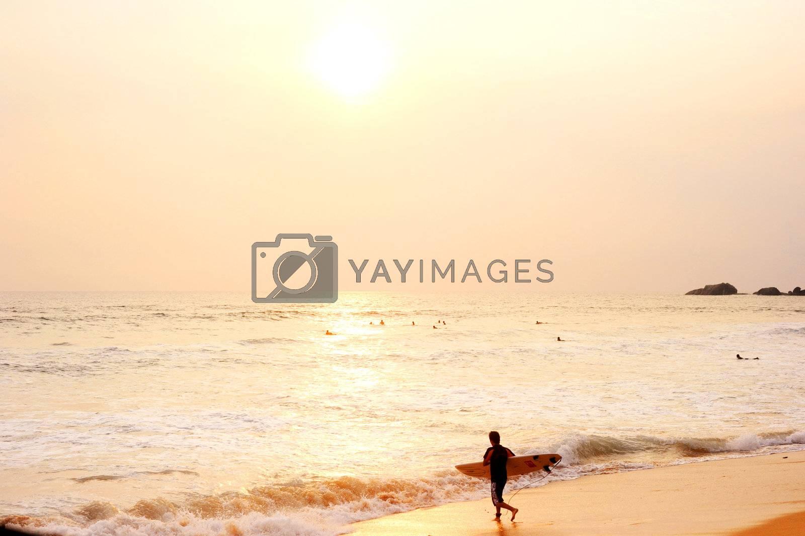 Hikkaduwa, Sri Lanka - March 08, 2011: Surfer on the ocean beach at sunset in Hikkaduwa. Hikkaduva - is the second best surf paradise in Sri Lanka
