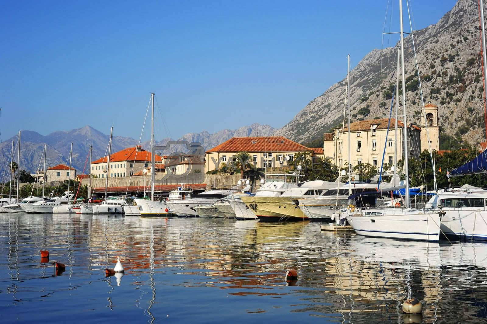 A lot of yachts in Kotor harbor, Montenegro