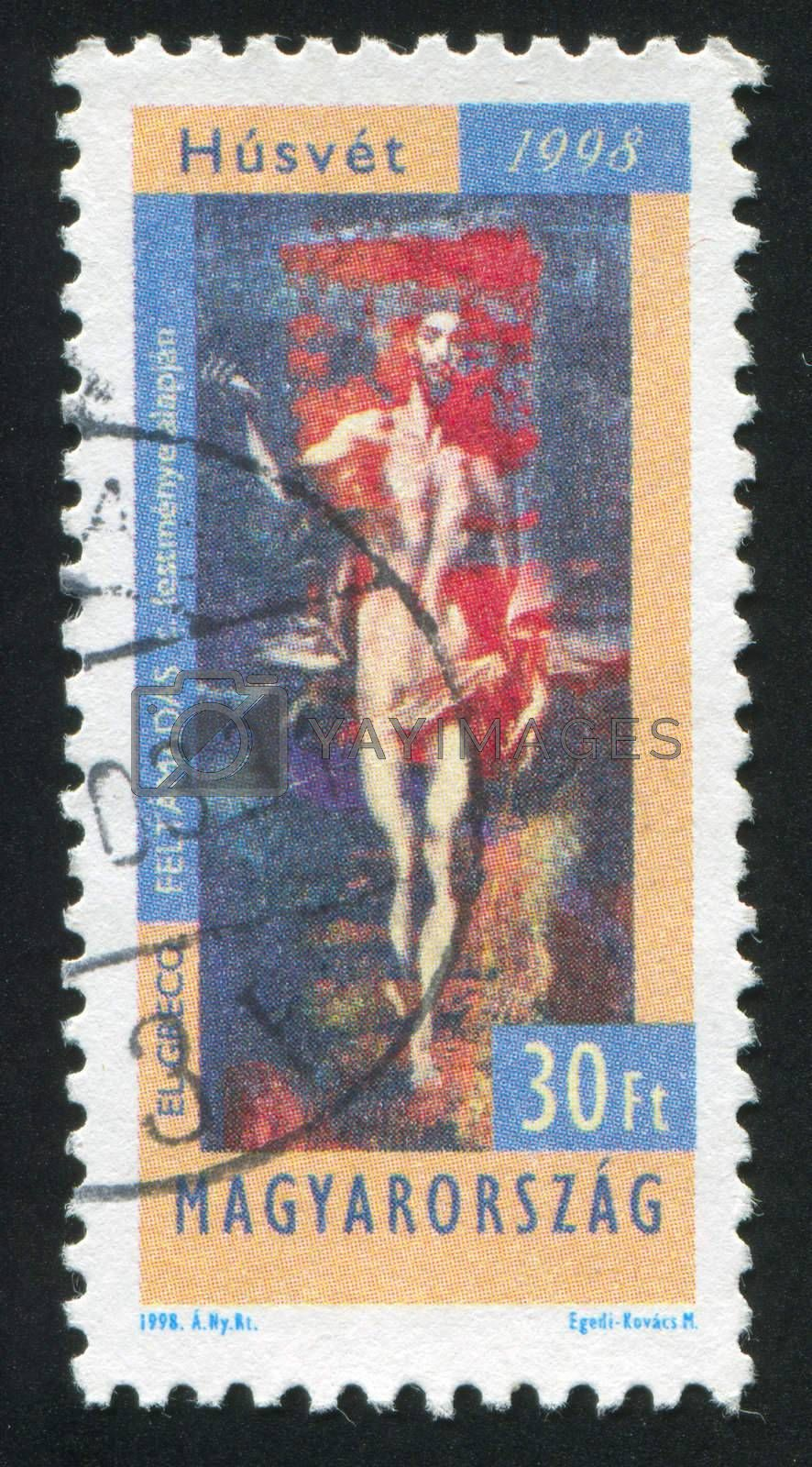 "HUNGARY - CIRCA 1998: stamp printed by Hungary, shows Fragment of Painting by El Greco ""Christ's Resurrection"", circa 1998"