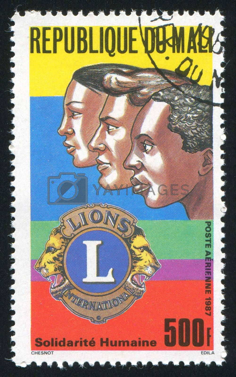 MALI - CIRCA 1987: stamp printed by Mali, shows Service Organization, Lions, circa 1987