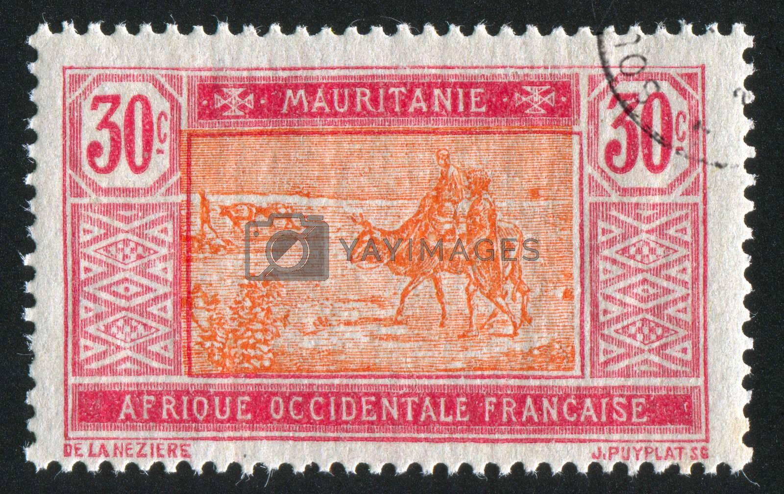 MAURITANIA - CIRCA 1922: stamp printed by Mauritania, shows Bedouins and animals, circa 1922