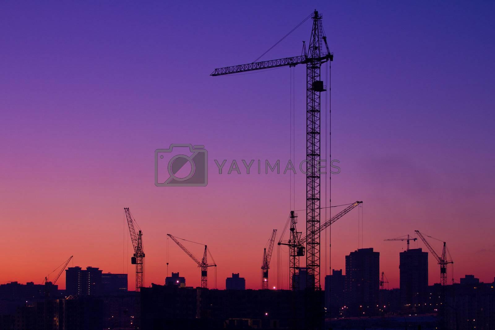 city under construction on sunrise