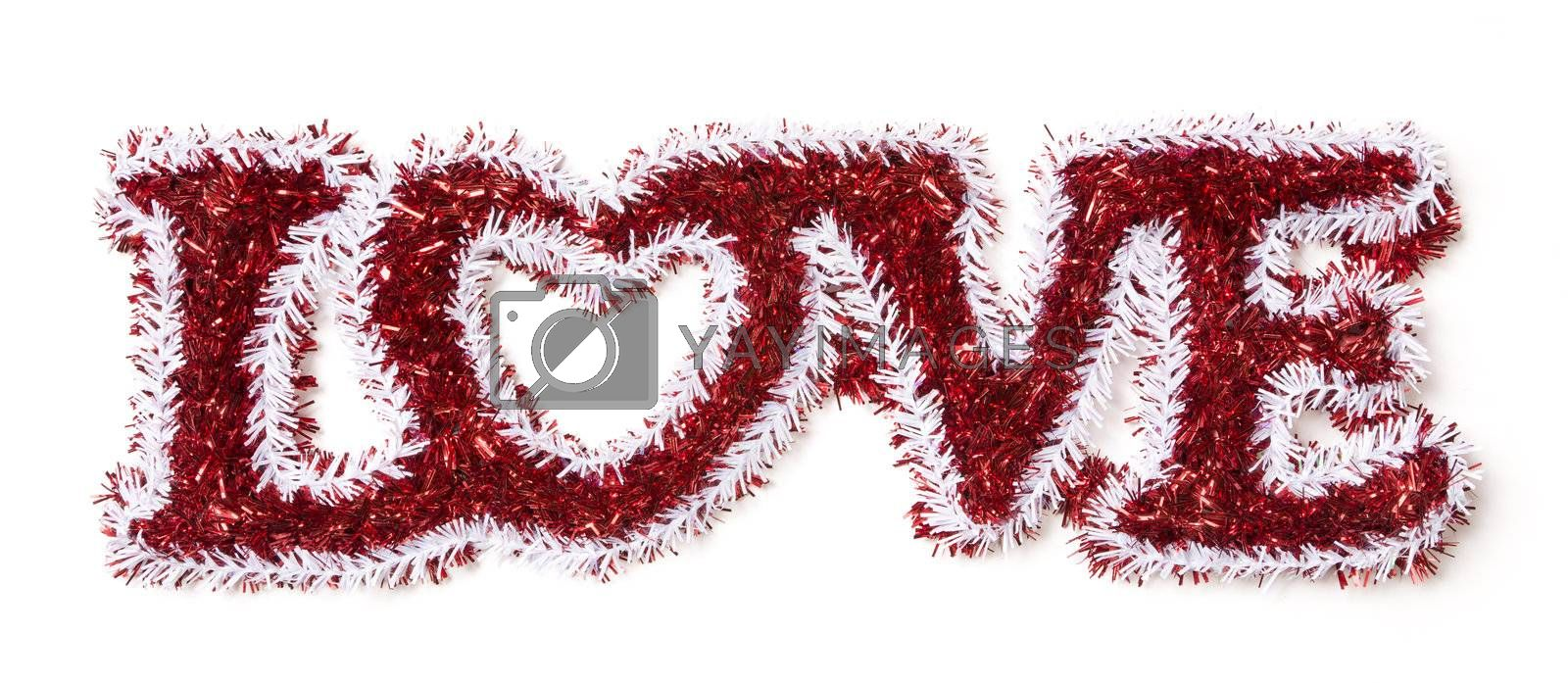 The Word Love Shaped White and Red Tinsel on a White Background.