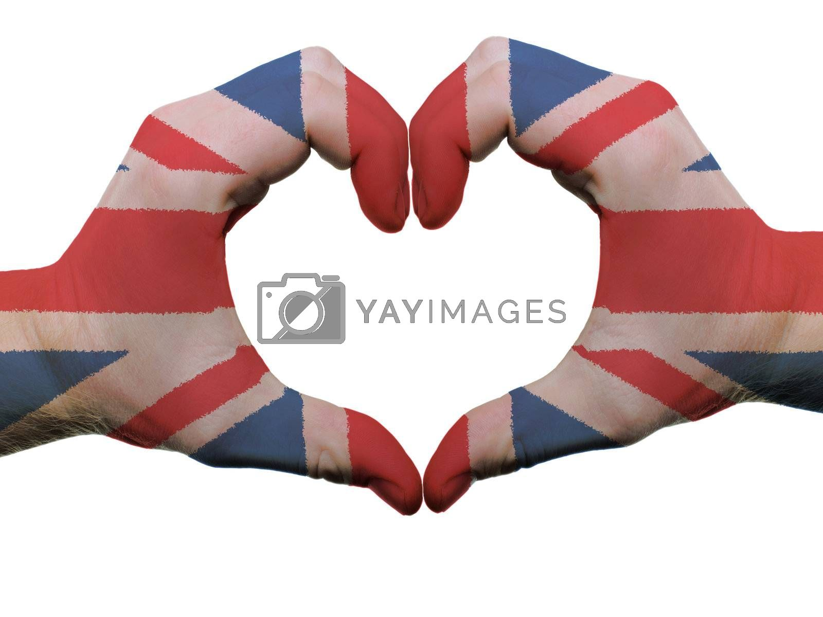Gesture made by united kingdom flag colored hands showing symbol of heart and love, isolated on white background