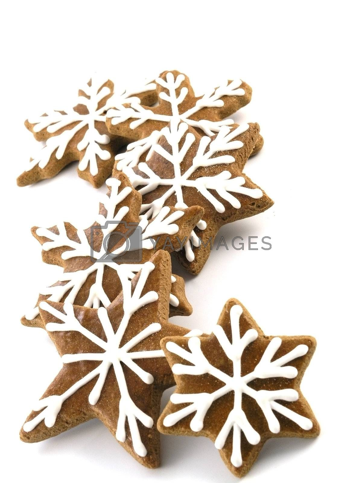 sweet food series: gingerbreads on white background
