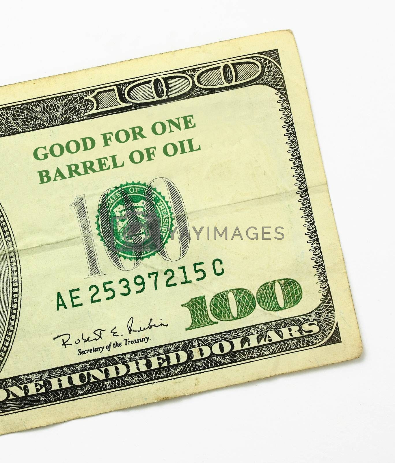 $100 bill and the price of oil.