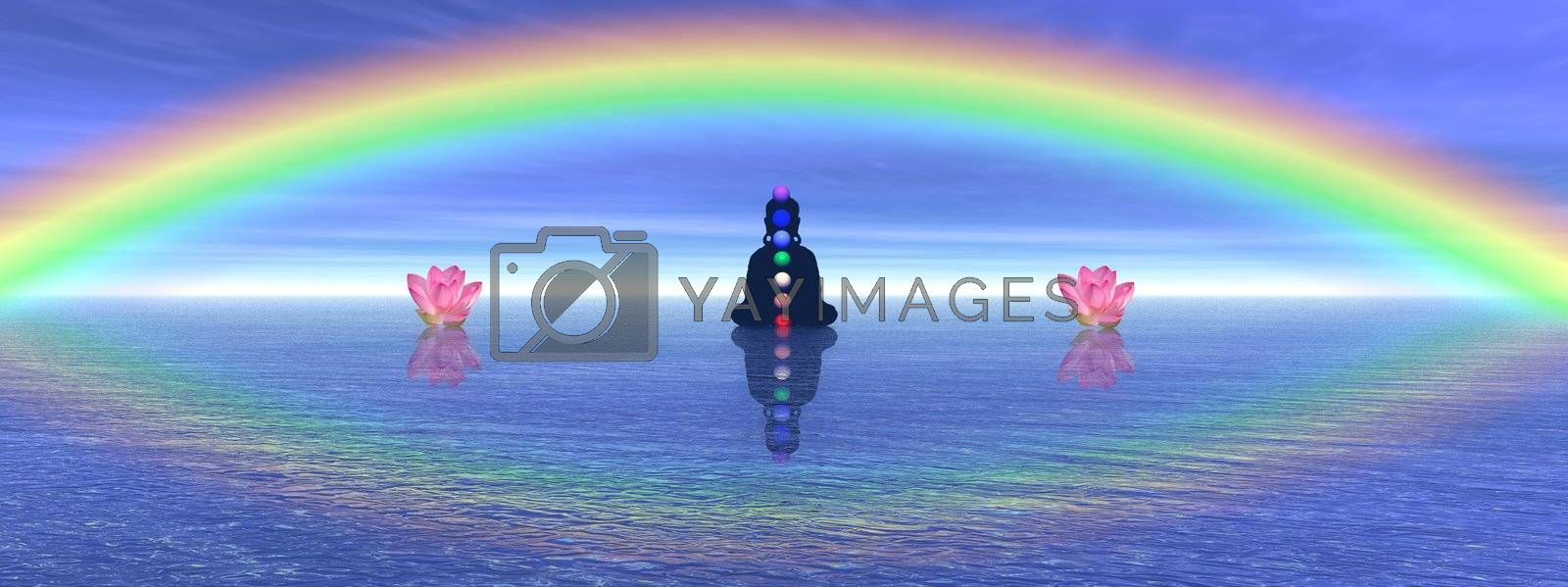 Shadow in meditation with chakras next to two waterlilies, on the ocean and under a big beautiful rainbow