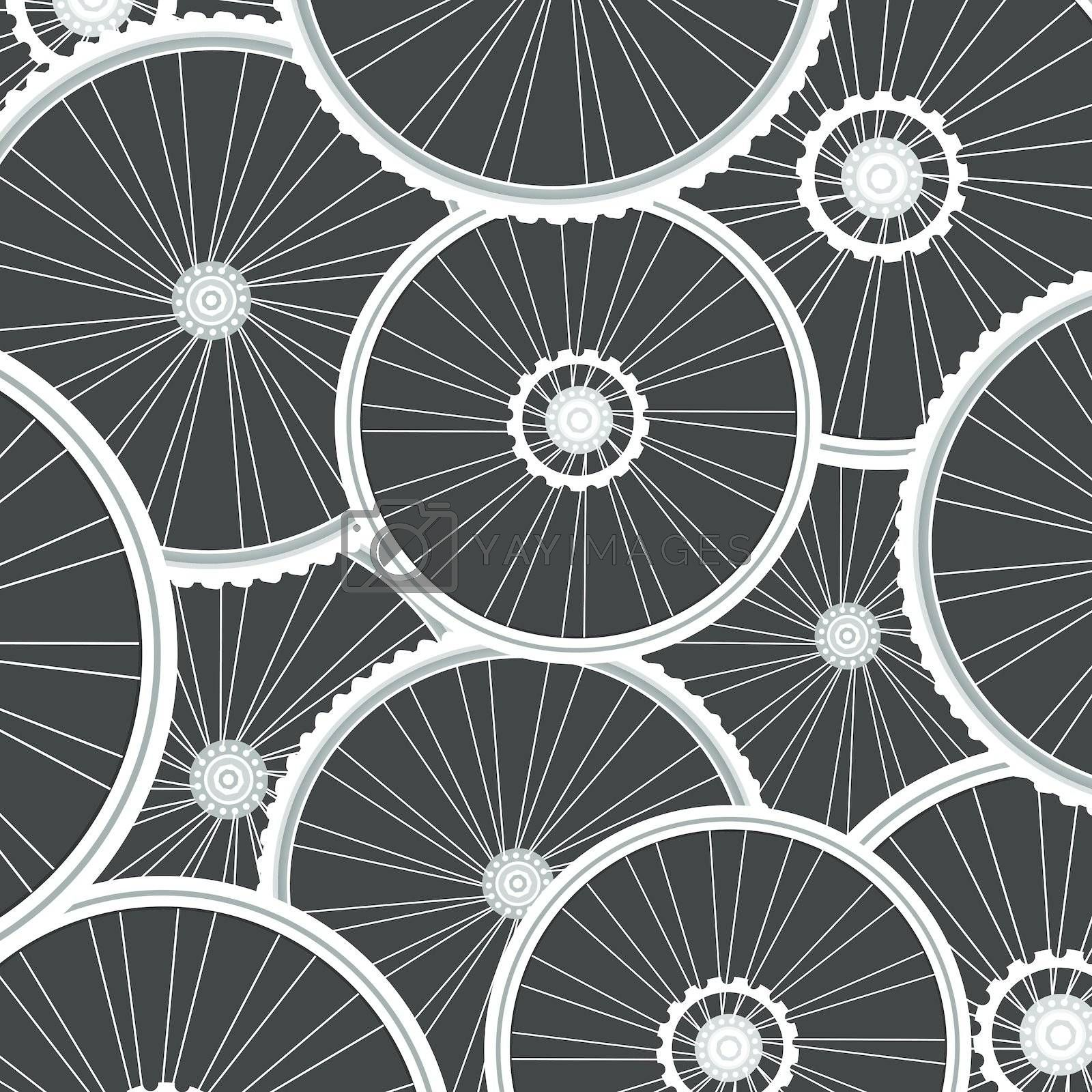 vector Bicycle background from many white wheels