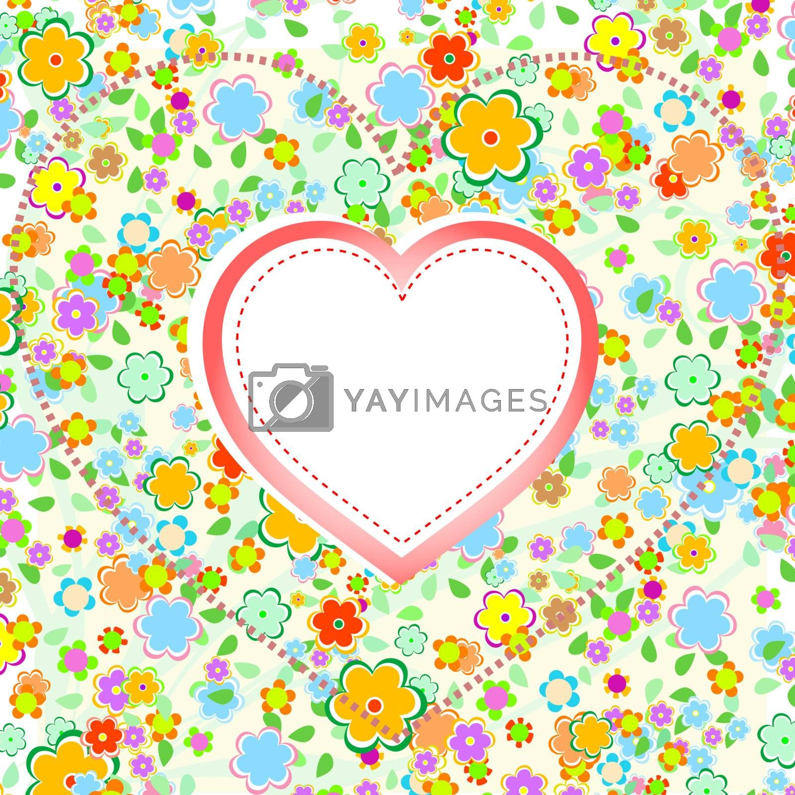 Valentines Day Heart with Flower background, vector wedding theme