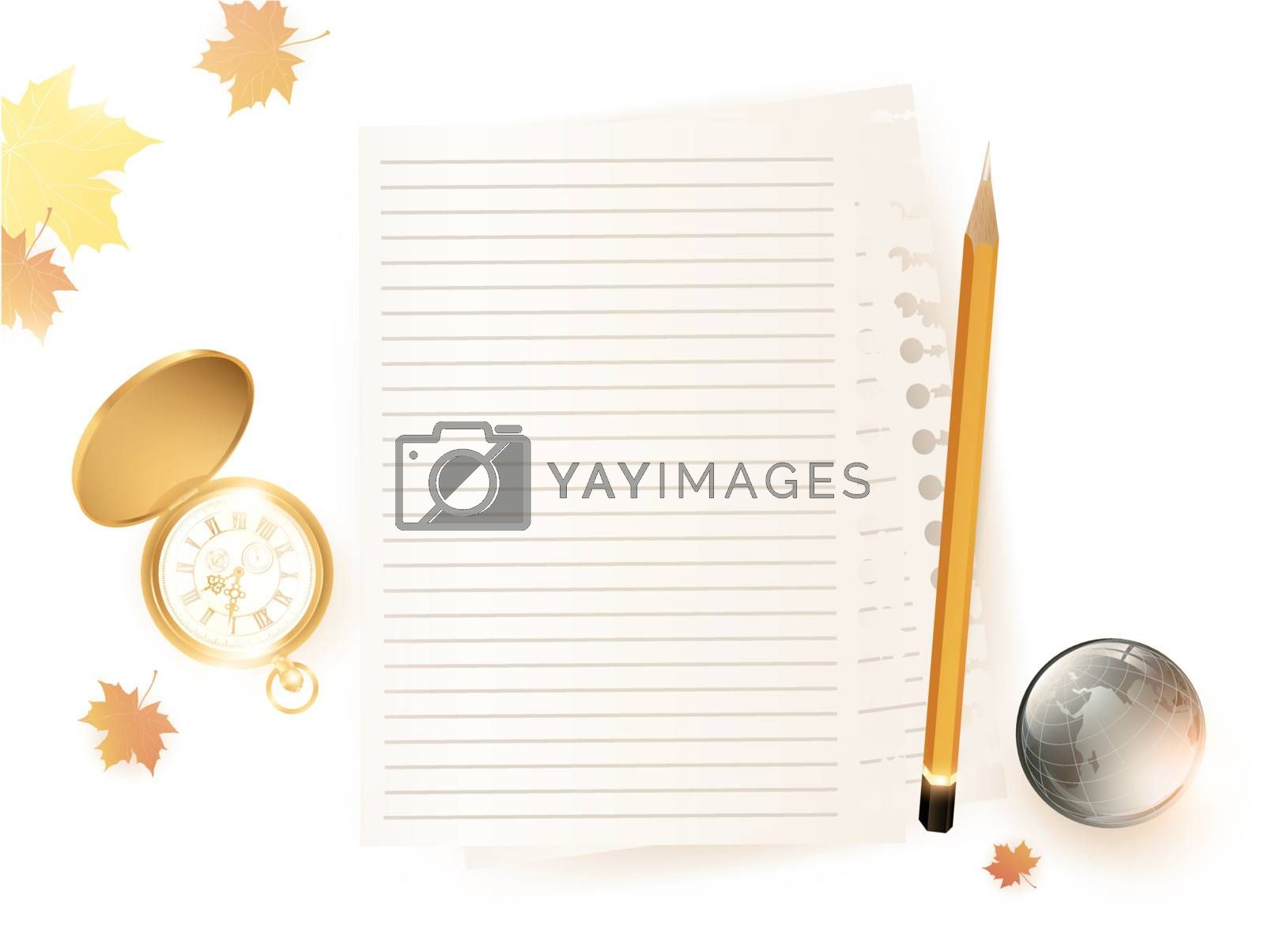 education theme with vintage pocket watch, paper sheets, pencil and glossy earth over white