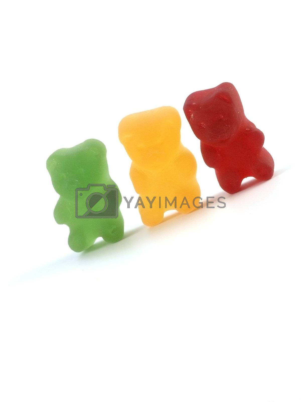 colorful sweet food on white background