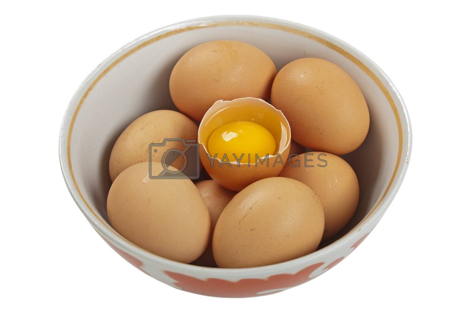 Brown chicken egg food white background isolated