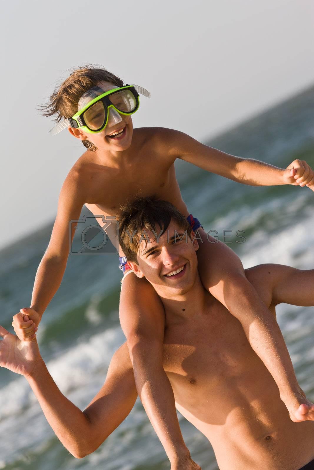 people series: two brother on the sea getting fun