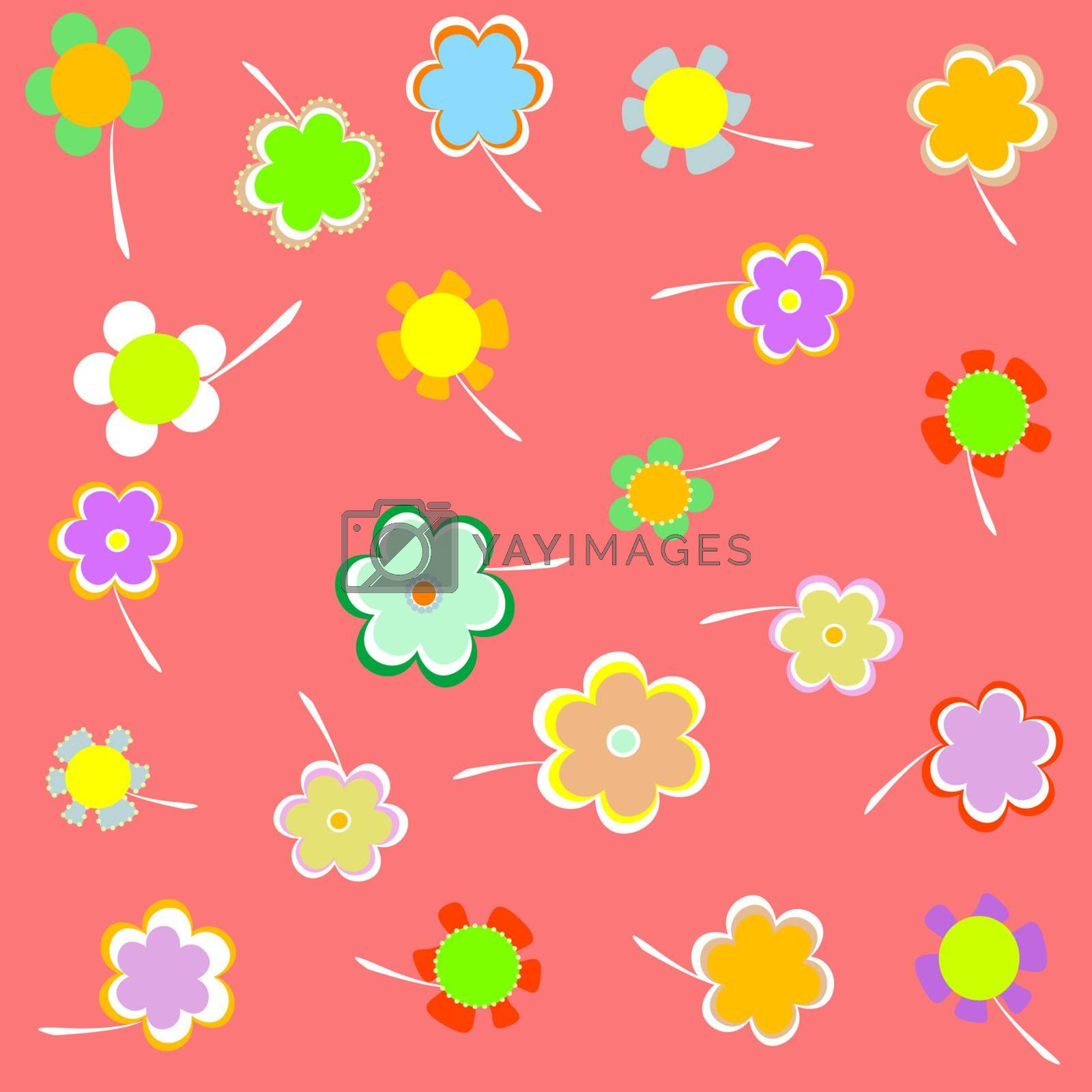 set of Romantic Flower. pink vector Background