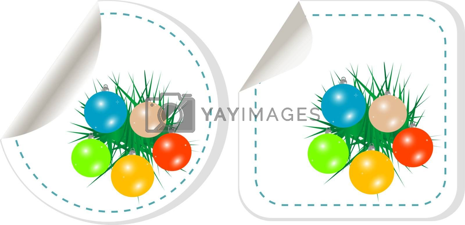 set of christmas stickers with new year balls. vector