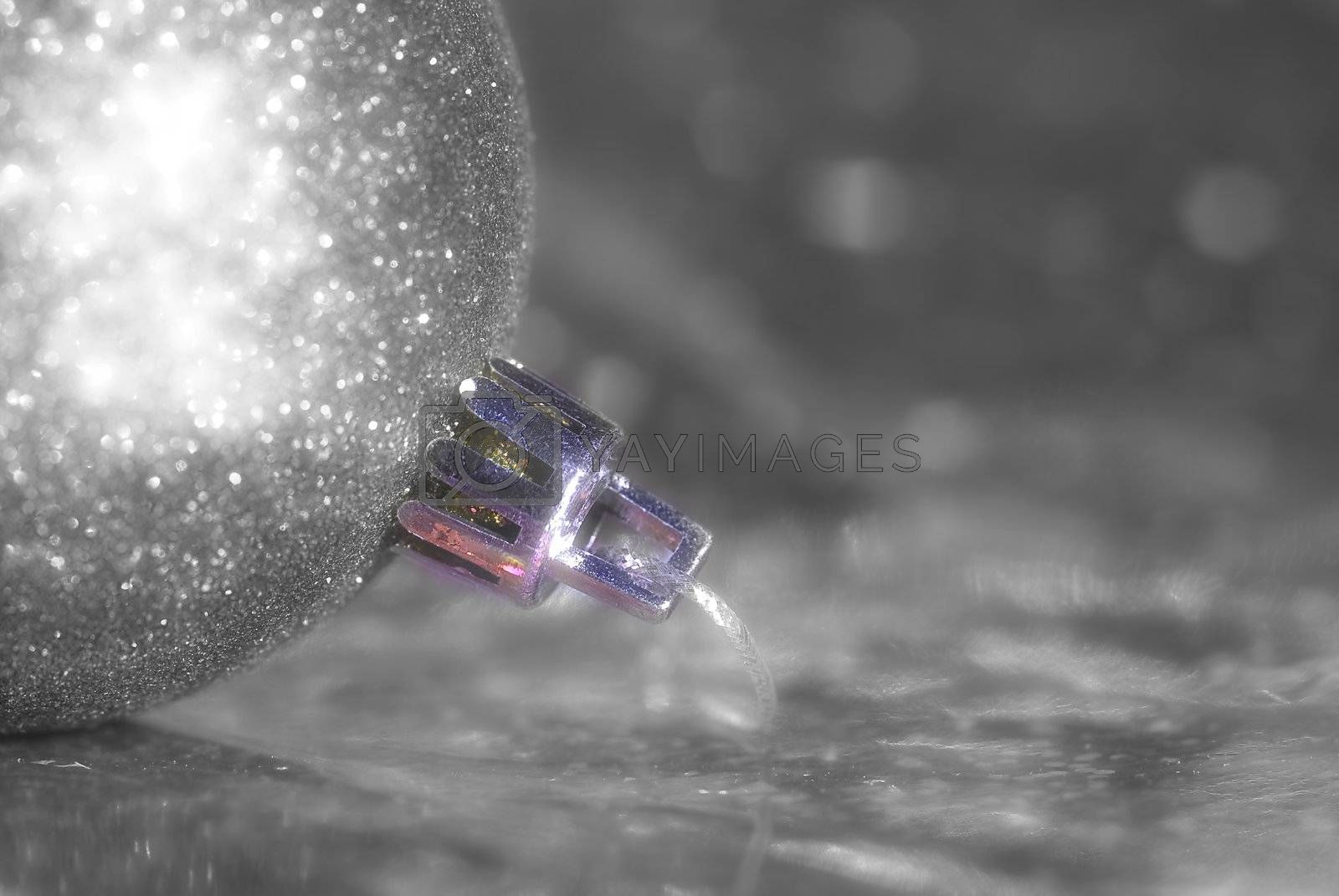 Christmas background silver ball, black and white