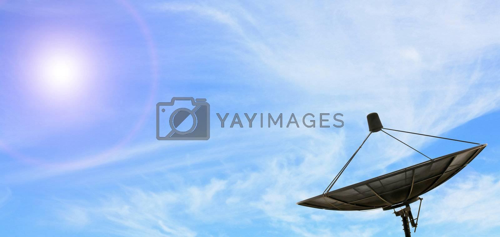 conceptual of black antenna communication satellite dish over sunny blue sky