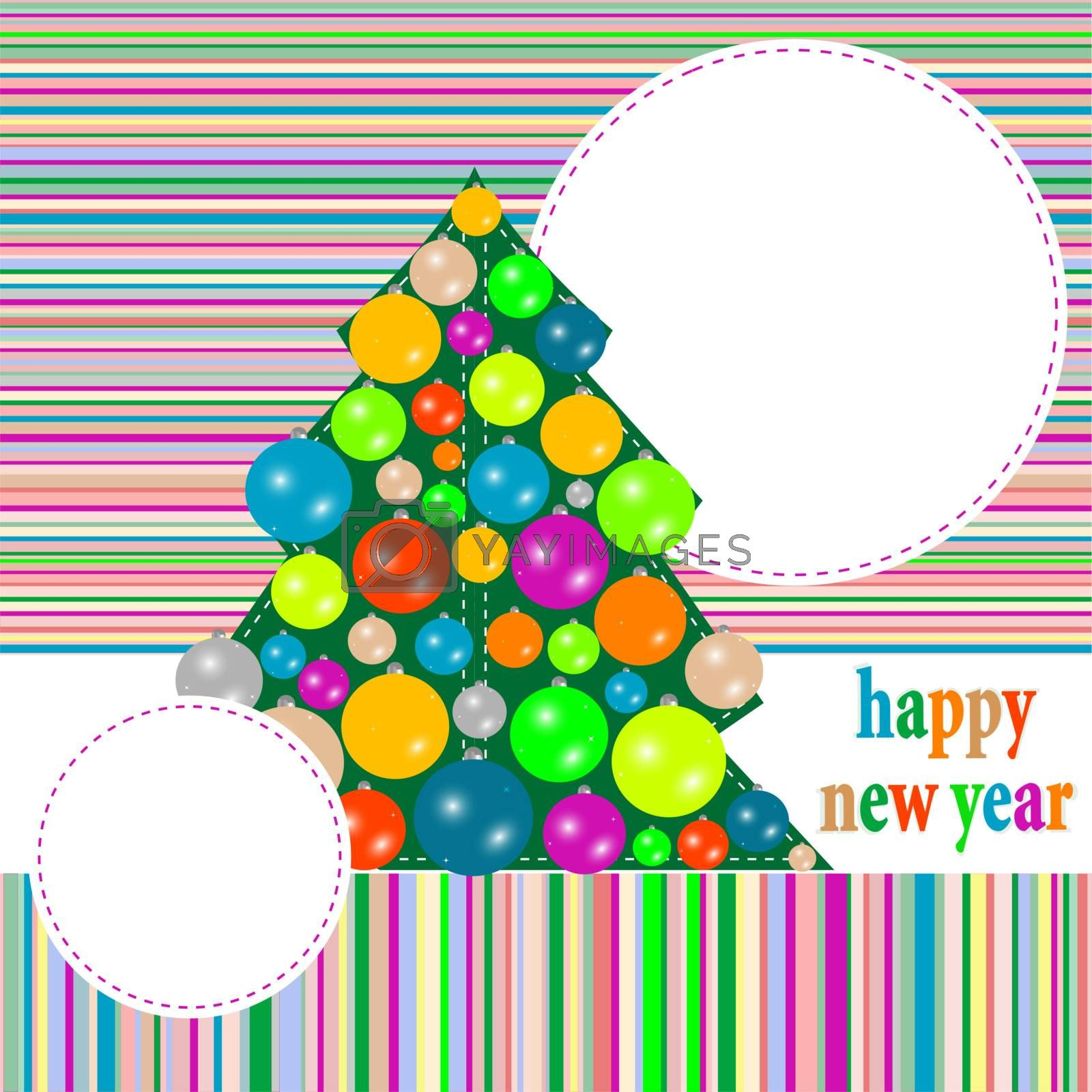 Christmas greeting card with winter tree and balls. vector background