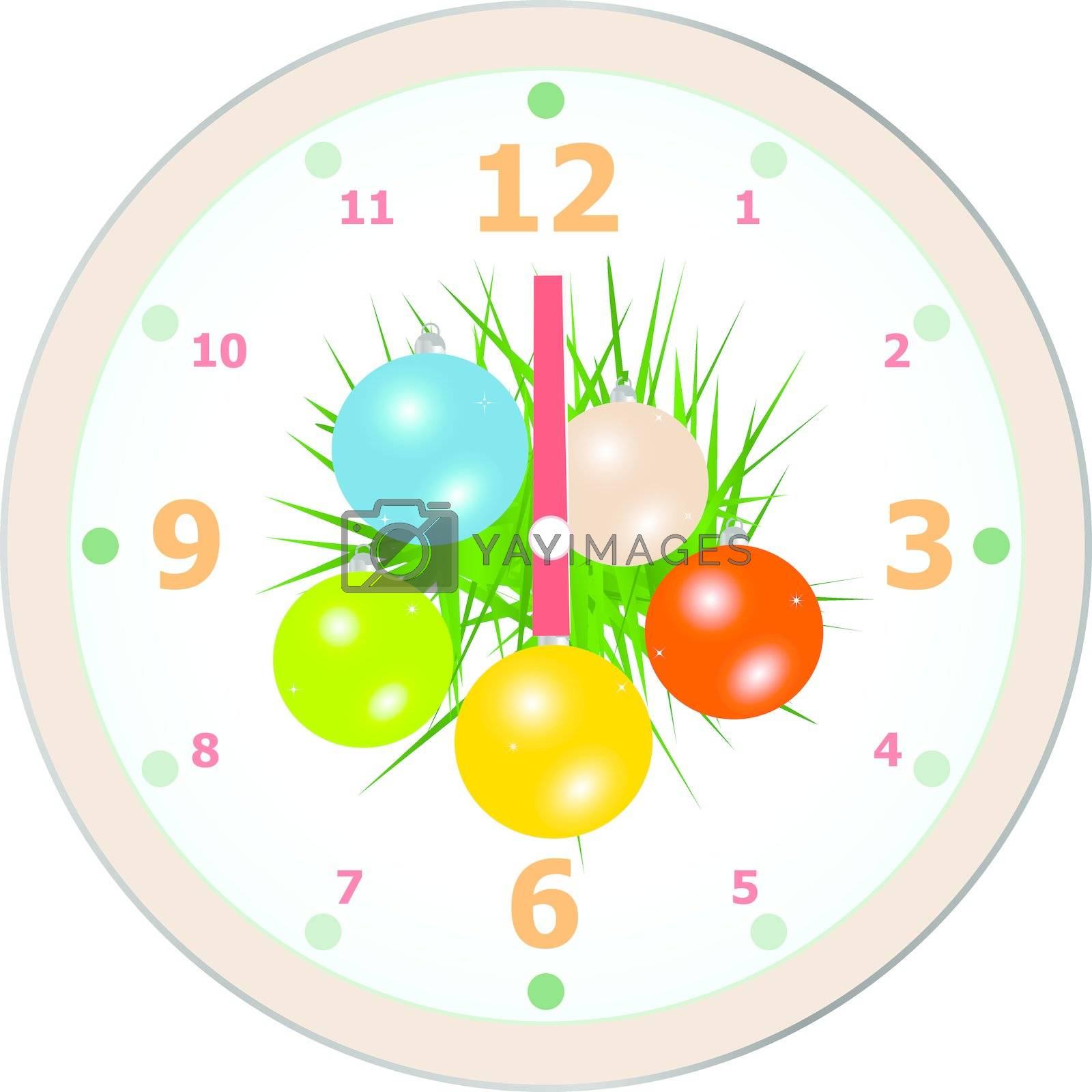New Year wall clock congratulation card. christmas vector